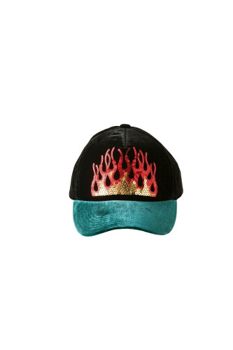 VELVET CAP WITH SEQUIN FLAME EMBROIDERY