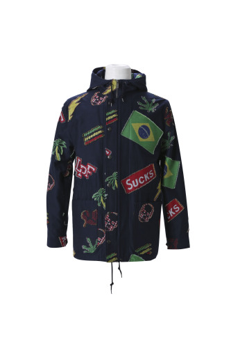 NEW LPF PATCHWORK JACQUARD HOODED MILITARY JACKET