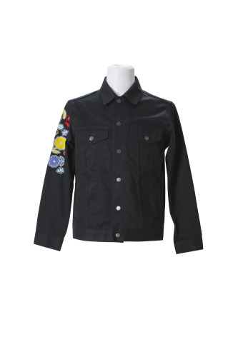 DENIM JACKET WITH LOVE/FLOWER/SKULL EMBROIDERY(COTTON POLYURETHANE)