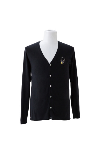SKULL WITH CRYSTAL STAR ON CHEST V-NECK CARDIGAN