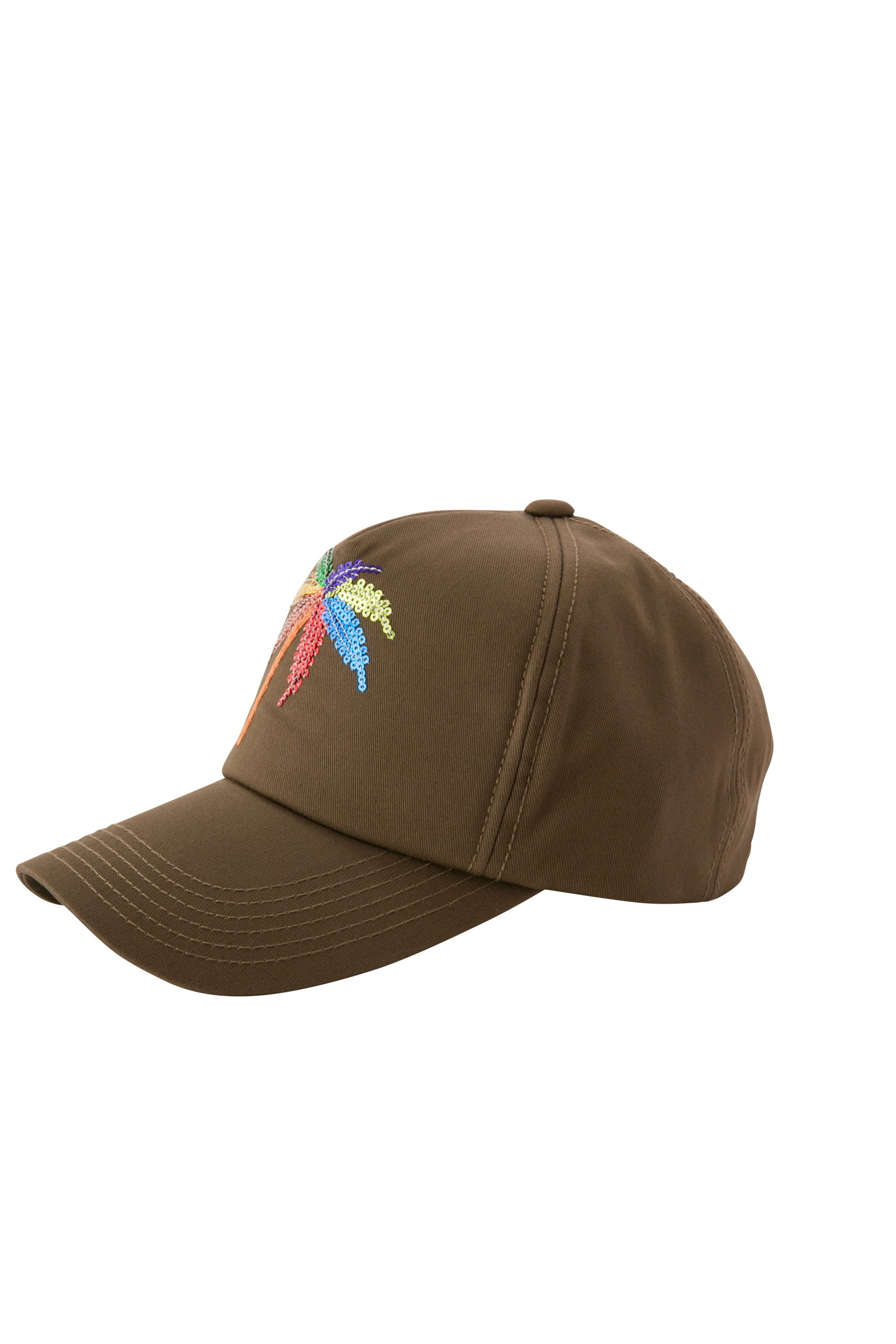 CAP WITH SEQUIN MULTI PALM TREE EMBROIDERY(OLIVE-UNI)