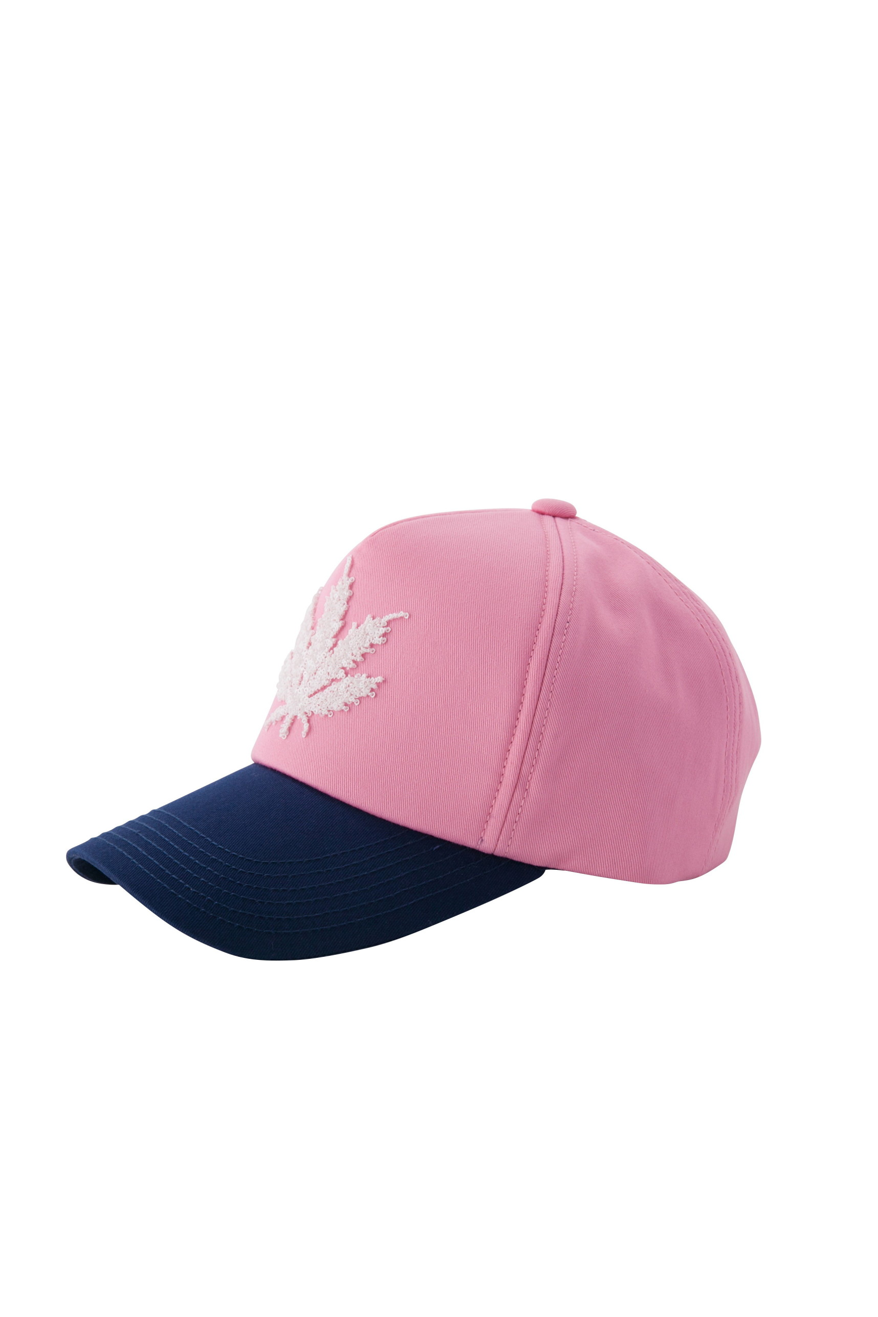 CAP WITH 3D SEQUIN LEAF EMBROIDERY(PINK-UNI)