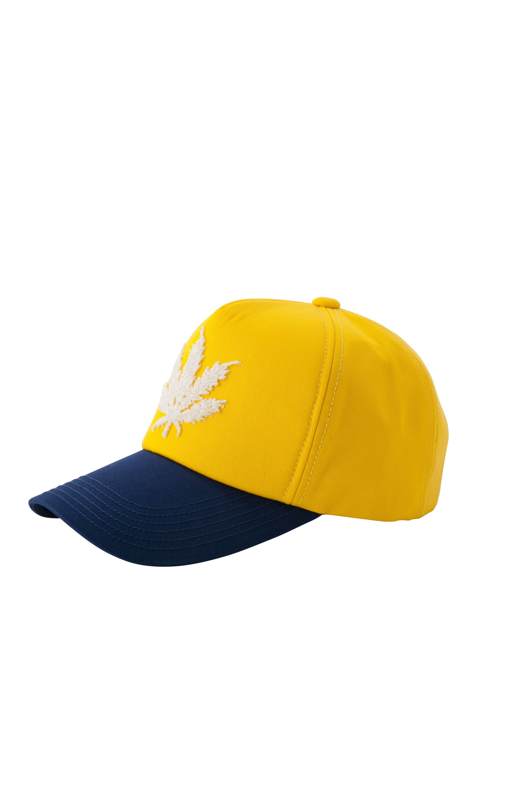 CAP WITH 3D SEQUIN LEAF EMBROIDERY(YELLOW-UNI)