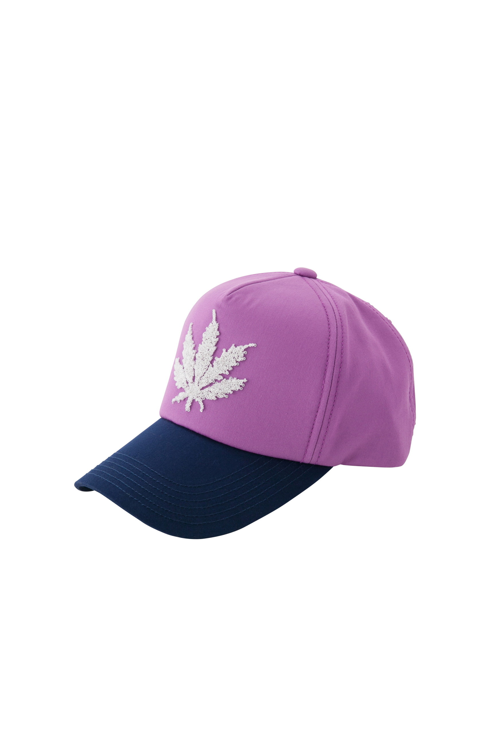 CAP WITH 3D SEQUIN LEAF EMBROIDERY(PURPLE-UNI)