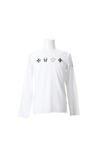 MALTESE CROSS,SKULL,CRYSTAL STAR,FLEUR DE LYS(F)+CRYSTAL L.P-F ON LEFT LONG SLEEVE T-SHIRT