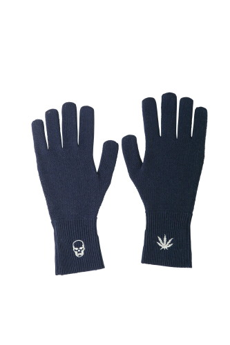 MENS HONEYCOMB STITCH GLOVE WITH EMBROIDERY SKULL&LEAF