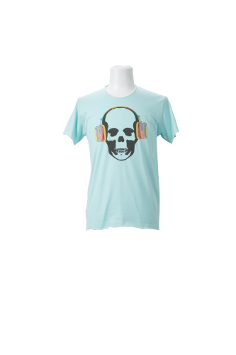SKULL WITH MULTICOLOR METALLIC HEADPHONE(F) SHORT SLEEVE T-SHIRT
