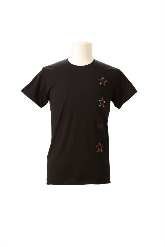 CRYSTAL SMALL STARS & SKULL DOWN (F) & SMALL STAR (B) SHORT SLEEVE T-SHIRT