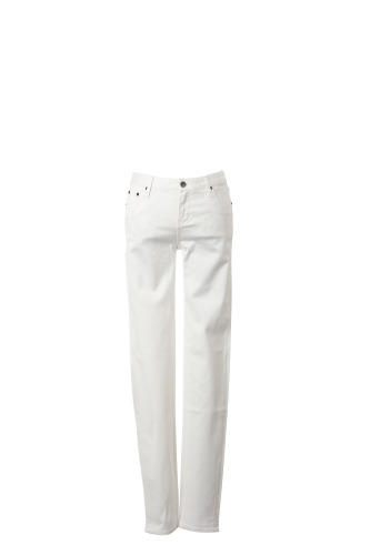 COTTON TWILL 5 POCKET PANTS WITH OUTLINE SKULL EMBROIDERY(B)