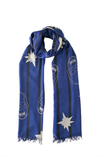 EXPLOSION & OUTLINE SKULL WITH STRIPE ALLOVER PRINTED SCARF