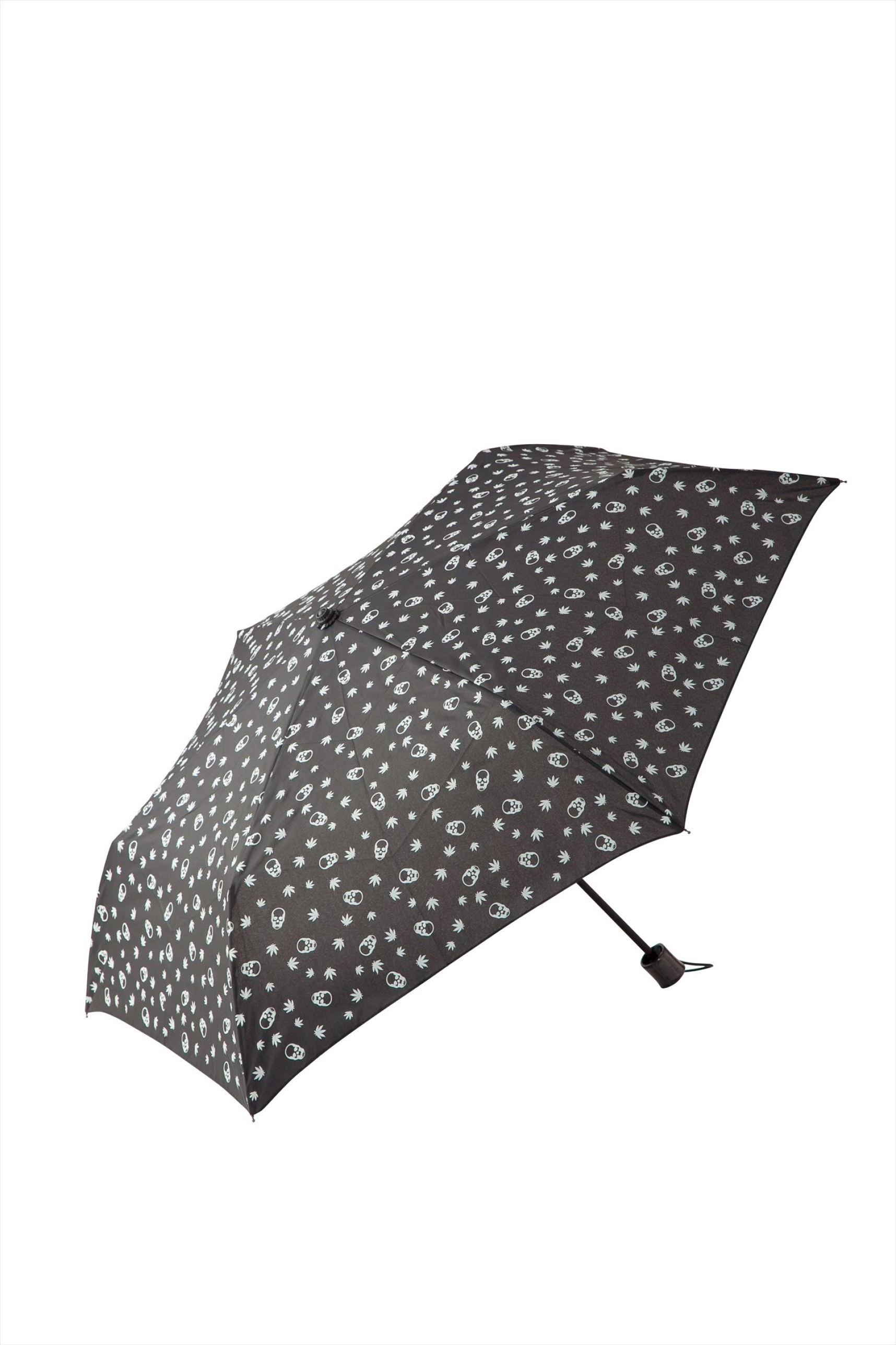 SKULL &LEAF MONOGRAM FOLDING UMBRELLA(BLACK×WHITE-free)