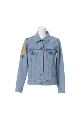 WASHED DENIM JACKET WITH LOVE/FLOWER/SKULL EMBROIDERY