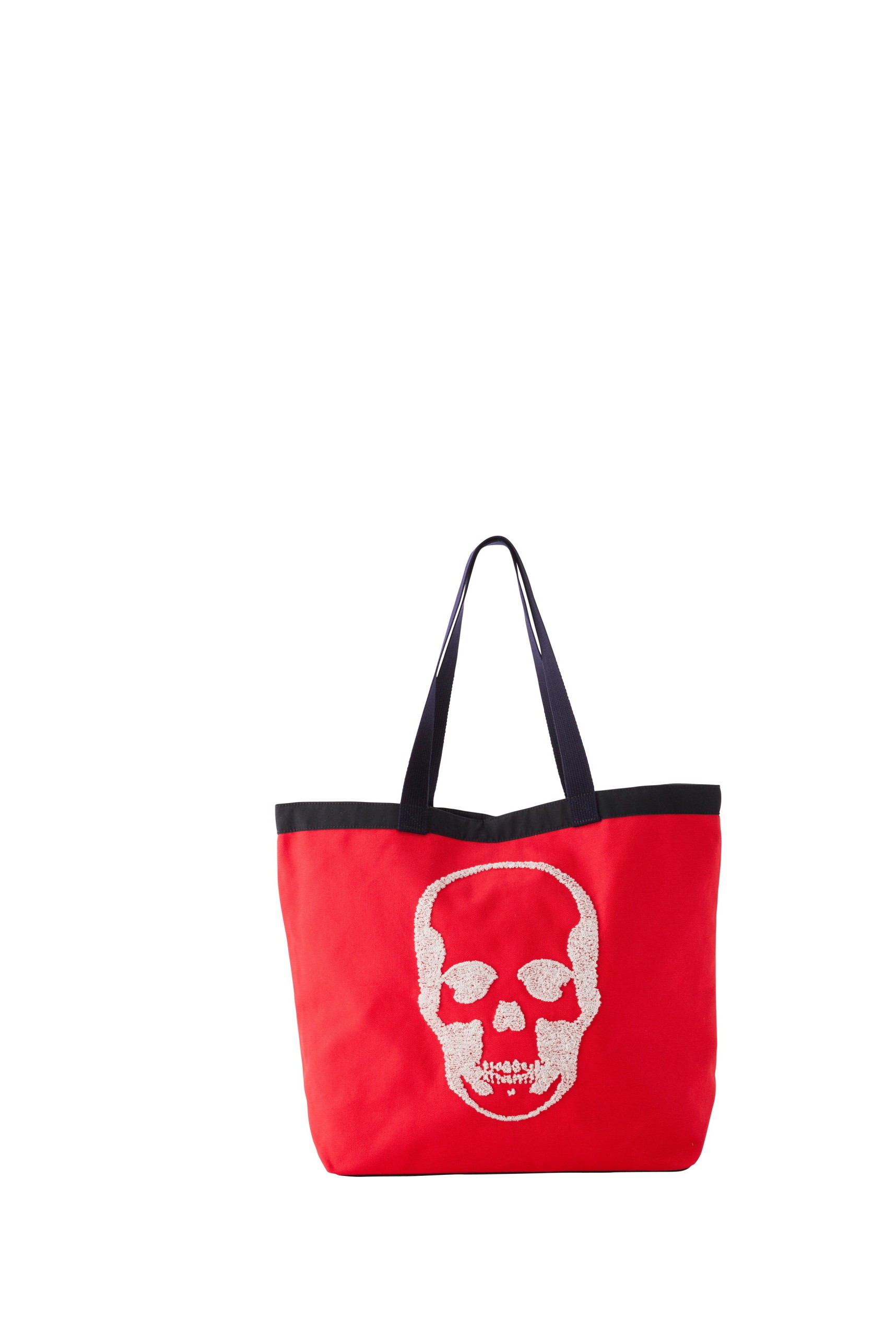 CANVAS TOTE LARGE WITH 3D SEQUIN SKULL(F) WITH LPF LOGO(B) EMBROIDERY(RED-UNI)