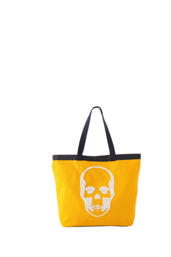 CANVAS TOTE LARGE WITH 3D SEQUIN SKULL(F) WITH LPF LOGO(B) EMBROIDERY