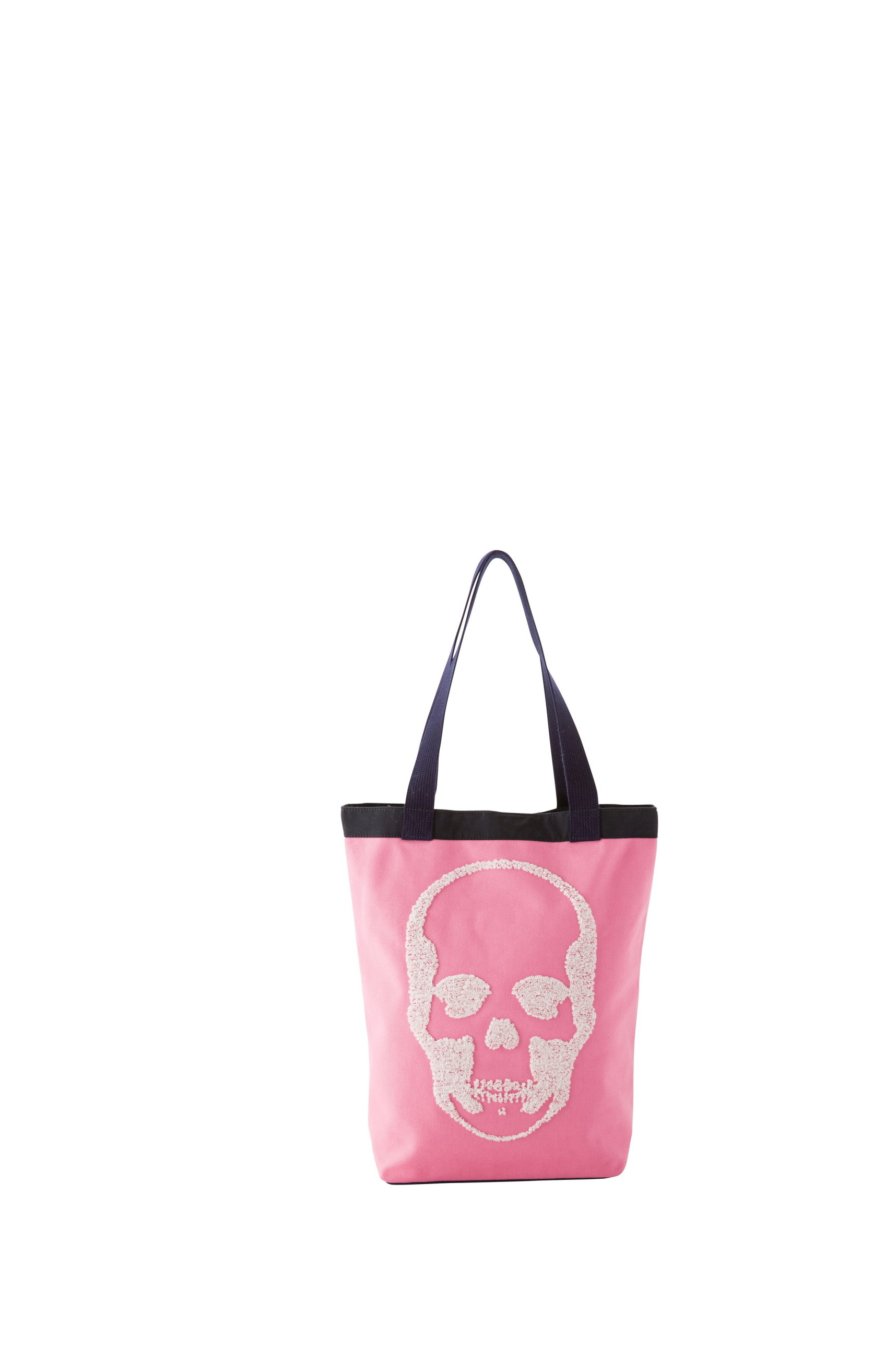 CANVAS TOTE MEDIUM WITH 3D SEQUIN SKULL(F) WITH LPF LOGO(B) EMBROIDERY