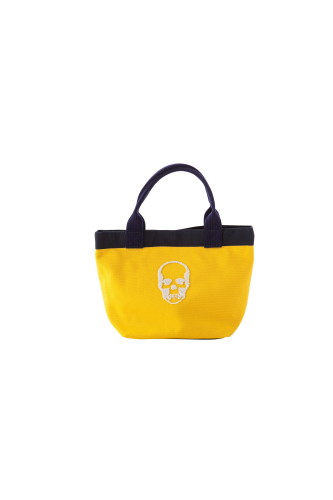 CANVAS TOTE SMALL WITH 3D SEQUIN SKULL(F) WITH LPF LOGO(B) EMBROIDERY