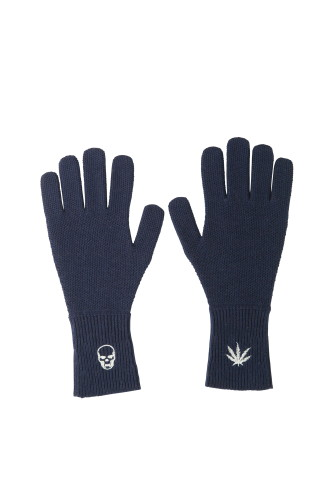 LADIES HONEYCOMB STITCH GLOVE WITH EMBROIDERY SKULL&LEAF