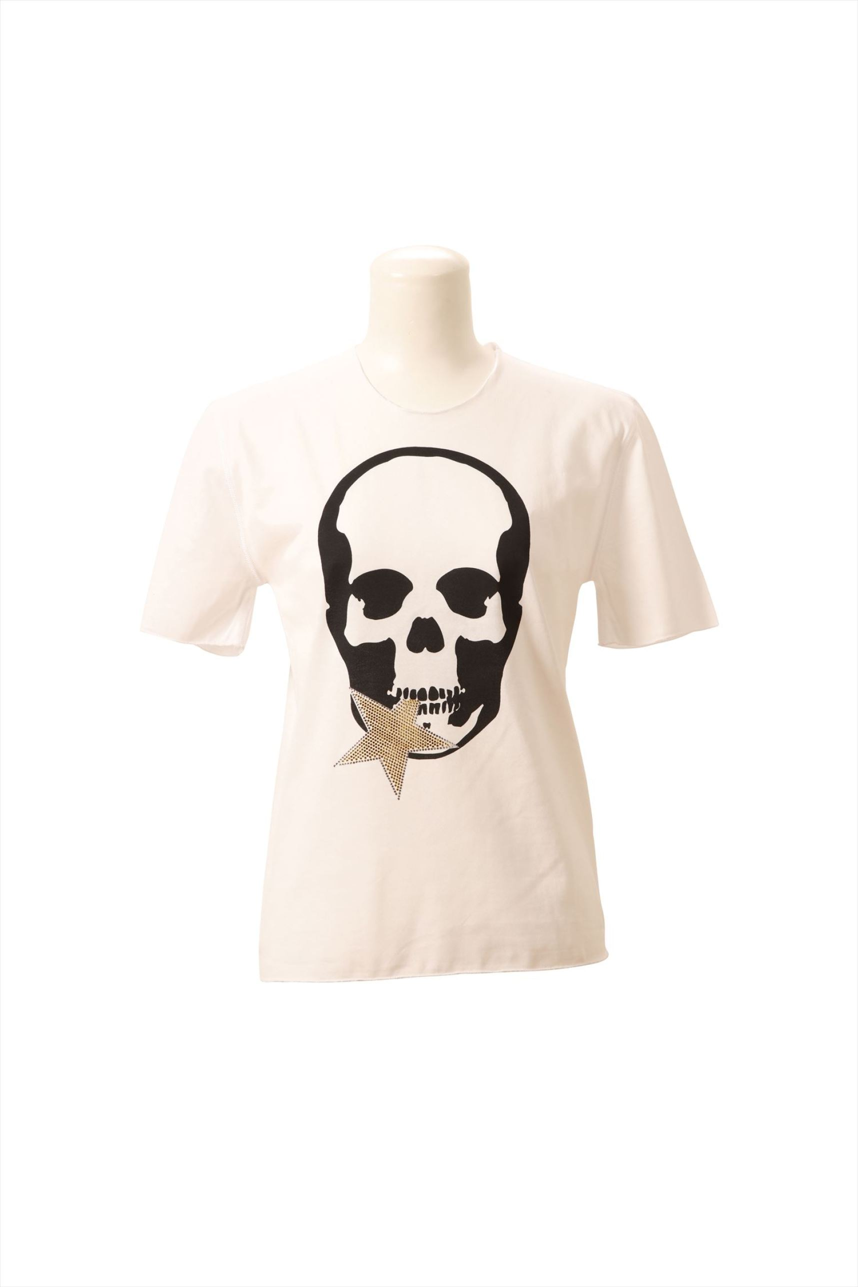 SKULL WITH CRYSTAL STAR (F) SHORT SLEEVE T-SHIRT(WHITE-XS)